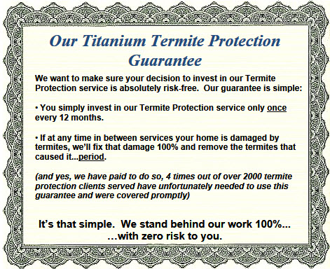 Termite guarantee certificate